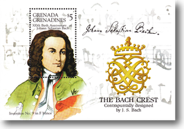 Miniature sheet (stamp) from Grenada, Grenadines for the 300th Birthday of Johann Sebastian Bach, 1985