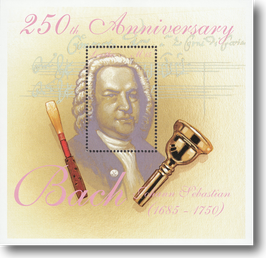 Miniature Stamp Sheet from Lesotho: The 250th day of death of Johann Sebastian Bach, 2000