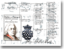 Miniature sheet (stamp) from Turks + Caicos for the 300th Birthday of Johann Sebastian Bach, 1985