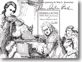 Miniature sheet (stamp) from Sierra Leone for the 300th Birthday of Johann Sebastian Bach, 1985