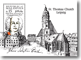 Miniature sheet (stamp) from The Maldives for the 300th Birthday of Johann Sebastian Bach, 1985