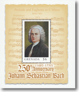 Miniature Stamp Sheet from Grenada: The 250th day of death of Johann Sebastian Bach, 2000