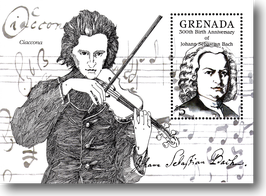 Miniature Stamp Sheet from Grenada: The 300th Birthday of Johann Sebastian Bach, 1985