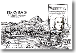Miniature sheet (stamp) from Dominica  for the 300th Birthday of Johann Sebastian Bach, 1985