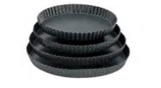 PASTICCERIA TORTIERA TONDA IN ACCIAIO BLU , Ø 26,3 x H 2,5 cm ,  sp 0,6 mm , confezione 1 pz .