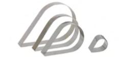 PASTICCERIA INOX FORME GOCCIA ,  tondo Ø 18 cm , 26 x 16 x H 4 cm , sp 1 mm , confezione 1 pz .