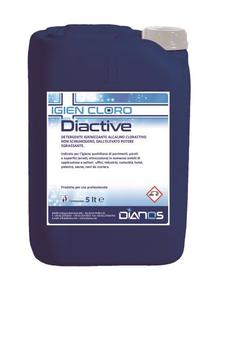 DIACTIVE , Detergente alcalino clorattivo non schiumogeno , TANICA 5KG , CONFEZIONE DA 4 TANICHE.