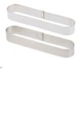 PASTICCERIA INOX FORME OBLUNGHE  ,  14,5 x 3,5 x H 2 cm , sp 1 mm , 9,3 cl , confezione 1 pz .