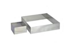 PASTICCERIA INOX FORMA QUADRATA PER TORTE , 24 x 24 x H 4,5 cm , confezione 1 pz .