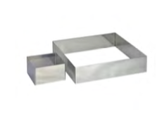 PASTICCERIA INOX FORMA QUADRATA PER TORTE , 12 x 12 x H 4,5 cm , confezione 1 pz .