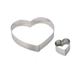 PASTICCERIA INOX FORME CUORE ,  tondo 20 cm ,  Ø 20 x H 4 cm , sp 1 mm , confezione 1 pz .