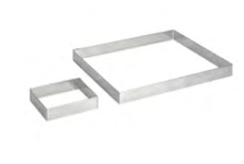 PASTICCERIA INOX FORMA QUADRATA PER TORTE , 28 x 28 x H 2 cm ,  sp 1 mm , confezione 1 pz .