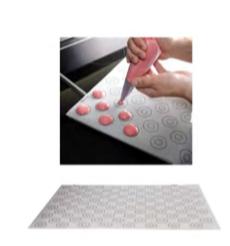 PASTICCERIA FOGLIO SILICONE con 88 cerchi disegnati per la cottura di AMARETTI ø 35 mm , 60 x 40 cm , sp 0,8 mm , confezione 1 pz .