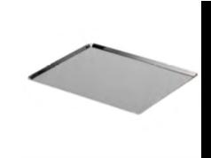 PASTICCERIA TEGLIA RETTANGOLARE INOX BORDI SVASATI,  sp 1 mm , 53 x 32,5 x H 1 cm ,  confezione 1 pz .