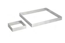 PASTICCERIA INOX FORMA QUADRATA PER TORTE , 24 x 24 x H 2 cm ,  sp 1 mm , confezione 1 pz .