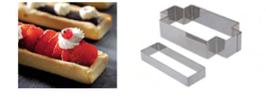 PASTICCERIA INOX FORME RETTANGOLO per TARTELLETTE,  11,5 x 4 x H 1,7 cm , confezione 1 pz .