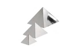 STAMPO PIRAMIDE INOX , 7,5 x 7,5 x H 5,2 cm , confezione 1 pz .