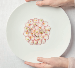 SHELL LINE ,DINNER PLATE GLAZED, 27.5x28.5x4 cm ,  scatola da 4 pz.