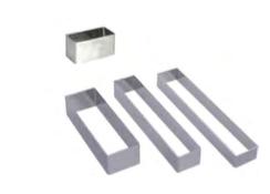 PASTICCERIA INOX FORME RETTANGOLO ,  8 x 2,5 x H 2,5 cm , confezione 1 pz .