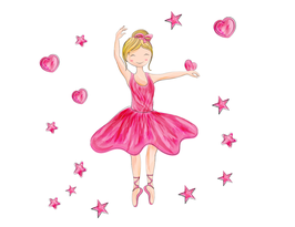 Ballerina mit Sternen und Herzen