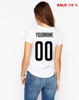Женская футболка на заказ, купить футболку с цифрами и фамилией