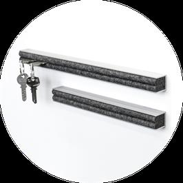 Schlüsselbrett Aluminium natur eloxiert 45 cm