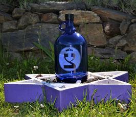 Bouteille en verre bleu cobalt 2 L gravée avec Tsaddé (18) Version 2