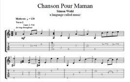 """Chanson Pour Maman"" Noten (+TABs)"