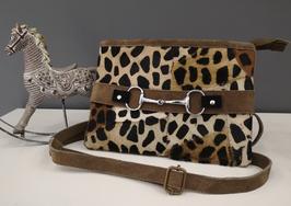 Pochette bandoulière cuir léopard avec mors