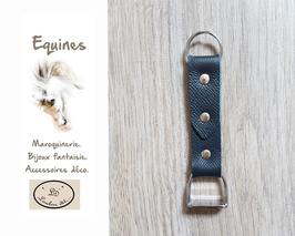 Porte-clefs cuir argent