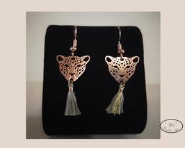 Boucles d'oreilles léopard or rose ou argenté