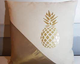 Housse de coussin velours/chintz ananas