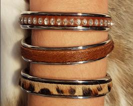 Bracelet jonc cuir pierres Swarowsky