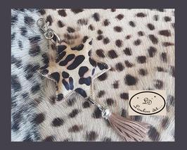 Porte-clés Etoile léopard cuir poils