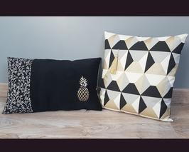 Duo de housse de coussin ananas et géométrique