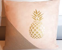 Housse de coussin ananas argent lin et suédine