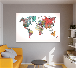 "Carte du monde ""COLORS BLACK LINES"""