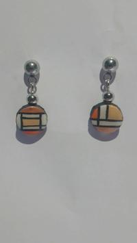 Boucle d'oreille Mondrian orange