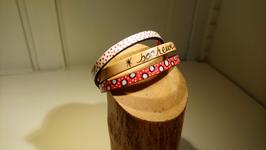 """Bracelet 3 cuir """"Bonheur"""""""