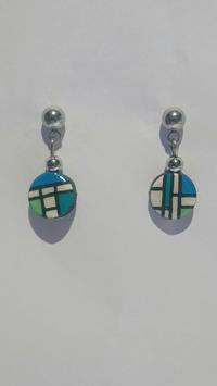 Boucle d'oreille Mondrian bleu vert