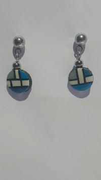 Boucle d'oreille Mondrian bleu