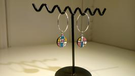 Boucle d'oreille Mondrian paillette