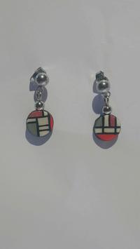 Boucle d'oreille Mondrian rouge