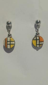 Boucle d'oreille Mondrian jaune orange