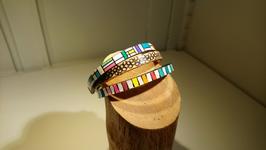 Bracelet 3 cuir multicolore