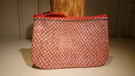 Porte monnaie zip simple rouge paillette