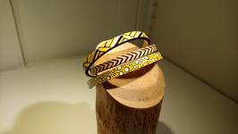 Bracelet 3 cuir spécial jaune