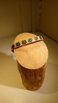 Bracelet cuir fleur bleu paillette