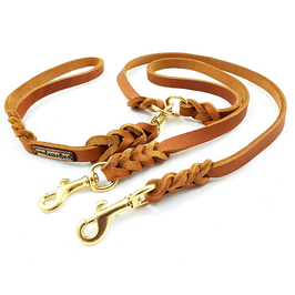 Handkoppelleine Leder  für 2 Hunde