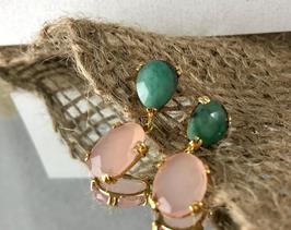 Ref.: 00288  Aretes en oro18k, esmeralda en bruto y cuarzo rosa